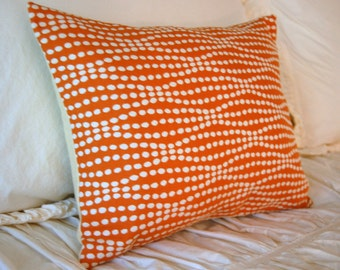 Pumpkin Strands Luxury Cushion / modern lumbar pillow / modern orange pillow / orange and cream bedding / minimalist pillow / luxe pillow