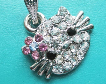 Rhinestone Kitty Cat Face Charms or pendants x 1