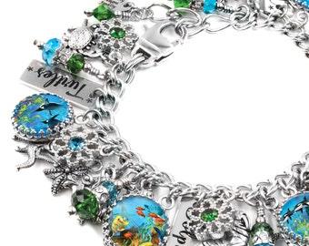 Ocean Charm Bracelet, Beach Charm Bracelet, Whale Jewelry, Dolphin Bracelet, Ocean Jewelry, Ocean Bracelet, Whale Bracelet