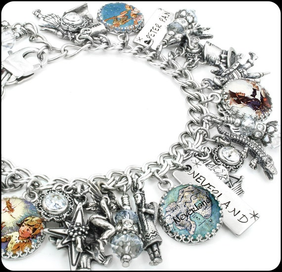Tinkerbell Charm Bracelet: Peter Pan Charm Bracelet, Silver Charm Bracelet