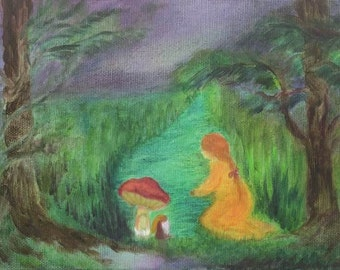 Girl and gnome friendship-blessing card-print of my original oil painting-children's art-nersery art-Waldorf arts