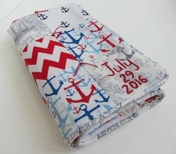 Baby Quilt With Personalized Name and Date Hand Embroidered ~Nautical Nursery ~ Ships Anchors Chevron ~ Red White Blue Gray ~Boy Shower Gift