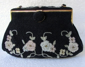 Vintage Vivant Sarne 50's Jet Black Micro Bead Purse Beaded Floral Design Pink Green Yellow Flowers Leaves Gold Frame Lining Italian Beads