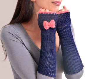 Crochet fingerless gloves, arm warmers, mittens, fingerless mitts - dark blue with coral pink bow - FRISKIES