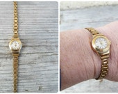 Vintage 1930/1950 French women platted gold bracelet watch working