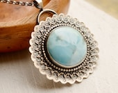 Silver Larimar Necklace, Detailed Silver Metalwork Necklace, Stone Pendant, Handmade Silver Jewelry, One of a Kind Jewelry