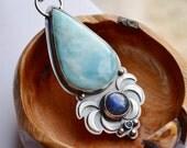 Handmade Silver Larimar Necklace with Textured Details, Unique Metalwork Necklace, Blue Labradorite Necklace, Art Jewelry, Statement Jewelry