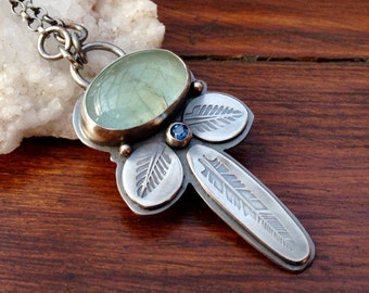 Silver Aquamarine Necklace with London Blue Topaz, Hand Stamped Feather Necklace, Leaf Pendant, Gemstone Necklace, Artisan Jewelry, OOAK