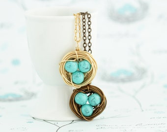 Expectant Mom Gift - Turquoise Bird Nest Pendant - Gift For Mother - Sweet Bird Nest Necklace - Mommy Gift - Gift For Woman - Mommy Gift