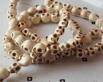 White Howlite Skull Beads full strand (40  beads)