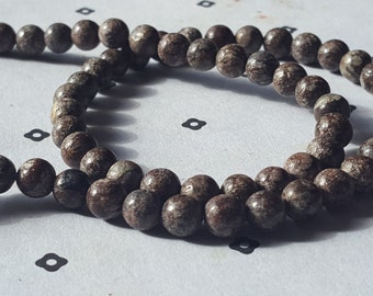 6mm Brown and white Dyed Jade full strand