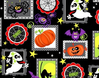 New GLOW IN the DARK Fabric from Henry Glass, Frightful and Delightful, Halloween Patch on Black,  yard