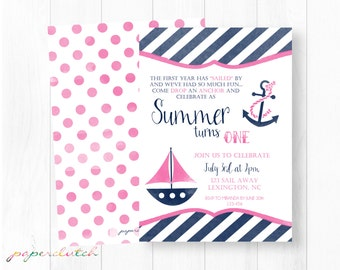 Girl Nautical First Birthday Invitation - Sailboat Invitation - Pink Sailboat - Preppy Birthday Girl - Lake Beach - Digital File or Printed