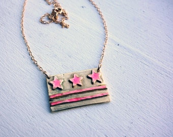 Handmade Pink and Brass DC Flag Necklace