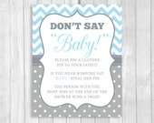 Printable Don't Say Baby! 8x10 Clothes Pin or Pacifier Necklace Baby Shower Game - Light Blue Chevron and Gray Polka Dots - Instant Download