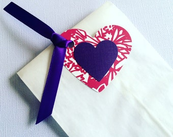 CLEARANCE 25 White Glassine Paper Favor Bags with Hot Pink Floral and Purple Heart Tags - Perfect for Bridal Shower or Girl's Birthdays