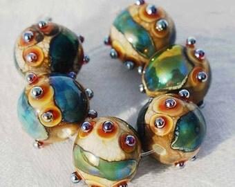 1 Earring Pair * Organic Bling Spheres * Lampwork Beads , Green Ivory glass beads by Beadfairy Lampwork, SRA