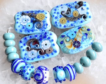 Large Set * Sea World * 4 Focals and 13 Accent Beads   Handmade Lampwork Beads by Beadfairy Lampwork, SRA