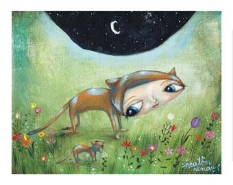 Kitty Cat and Bestfriends, BFFs, Besties, Kitties in the Garden, Pop Folk Surrealism Print by Heather Renaux