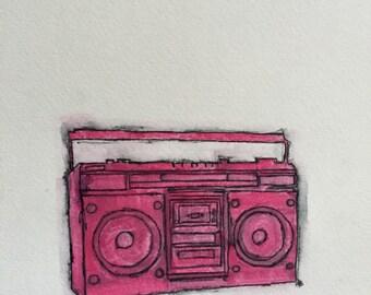 80's radio / boombox painting