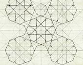 Geometric art print illustration archival print Islam wall art line drawing 8x10 11x14 'Geometry Sketch Nine'