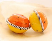Hollow Orange-Yellow Handmade Lampwork Pair