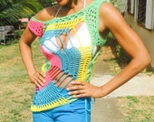 Super Star Tunic - Ready To Wear - Turquoise, Yellow, Pink and Green