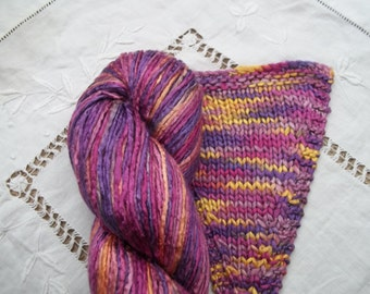Silk Yarn Hand Dyed Worsted weight - Harlequin (6)