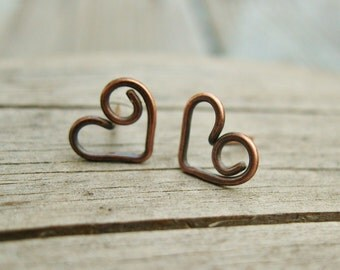 Bear Hug Heart Studs - small post style antiqued copper earrings