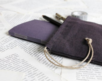 Sample Sale - Purple Long Stitch Bullet Journal Notebook with Dotted Grid Pages and Drawstring Linen Pouch