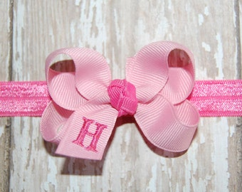 Monogrammed Pink Baby Headband - Infant Bow - Infant Headband Bow - Baby Headband Bow - Toddler Bow - Newborn Bow - Personalized Bow