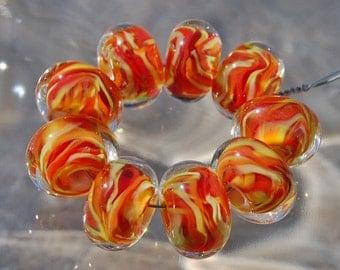 Salsa - Set of 9 Encased Lampwork Beads - Dan O Beads