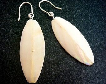 Four Sided Shell and Sterling Silver Earrings