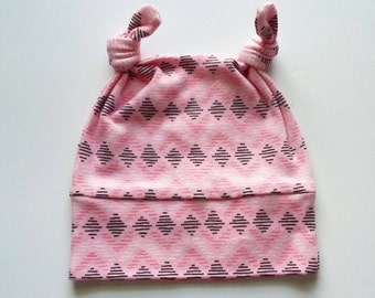 Organic Cotton Infant Hat Pink Aztec Print 0-3 or 4-12 Months