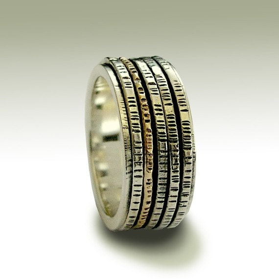 Silver Wedding Band, Silver Ring Band, Meditation Ring, Silver Gold Spinner,  Wedding Ring, Unisex Wedding Band - After all this time R1149B