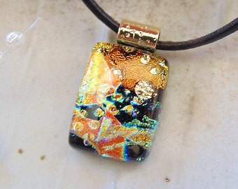 Petite, Gold Necklace, Dichroic Glass Pendant, Fused Jewelry, Necklace, Copper, Gold, Black, One of a Kind, A1