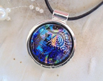 Fused Dichroic Glass Necklace, Dichroic Pendant, Glass Jewelry, Cobalt Blue, Purple, Necklace Included, One of a Kind, A1