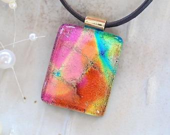Pink Necklace, Orange, Aqua, Gold, Dichroic Glass Pendant, Necklace, Glass Jewelry, Necklace Included, A8