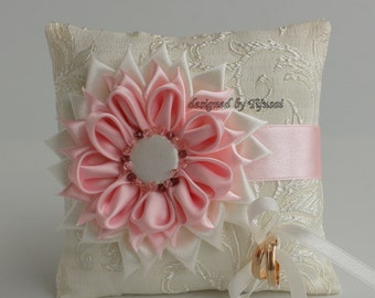 Ivory Wedding pillow with  pink/ivory Flower ---wedding ring pillow , wedding pillow, ring cushion-ready to ship