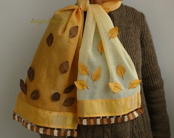 Yellow-orange scarve with leaves-handmade