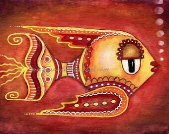 Nautical Colorful Cute Fish Art Print, Beach Art Illustration, 8 x 10 or 5 x 7,  Burgundy, Orange, Yellow, Ocean Sea Art
