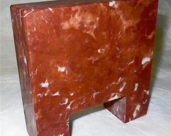 Cut Hunk of Marble - Chocolate Brown Marble Stone  Piece Paperweight or Note Holder