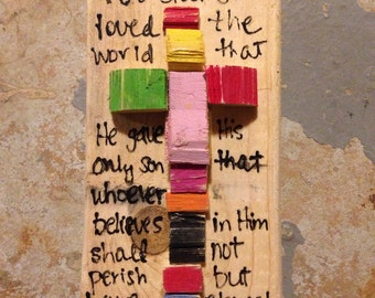 Wood mosaic cross with Bible verse
