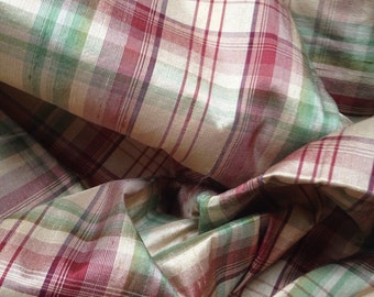 Plaid silk fabric - sewing material - fabric sample