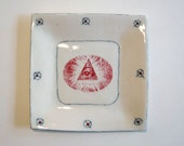 small square porcelain plate with underglaze and underglaze pencil pattern