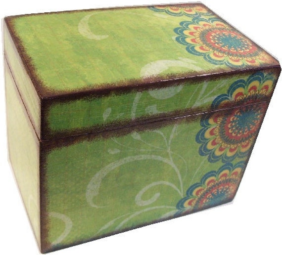Recipe Box, Decoupaged Wood Box, Decorative Bird Box, Holds 3x5 Cards, Recipe Organizer, Storage Organization, Kitchen Decor, MADE TO ORDER