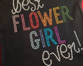 BEST FLOWERGIRL EVER multi color rhinestud tee by 1286 Kids (formerly Daisy Creek Designs)