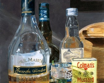 Cocktails glass bottles liquor still life acrylic painting Giclee Reproduction 10x13