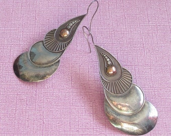 Vintage Really Big Earrings, Snail Jewelry, Abstract Earrings, Sterling Silver, Ethnic Earrings, Curved Jewelry