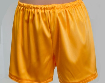 Yellow  stretch satin sleep shorts size Med  lingerie casual,bridal, bridesmaids gifts